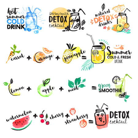 Set of hand drawn watercolor signs of summer drinks, fruit juices and smoothies, cocktails. Vector illustrations for graphic and web design, for restaurant and bar, menu.