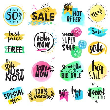 Set hand getrokken aquarel labels en stickers te koop. Vectorillustraties voor grafisch en webdesign, om te winkelen, e-commerce, verkoop en korting, productpromotie, webbanner en badges.