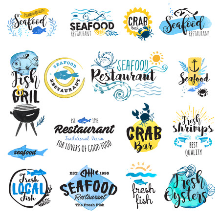 seafood: Set of hand drawn watercolor labels and badges of seafood. Vector illustrations for graphic and web design, for restaurant, menu, market.