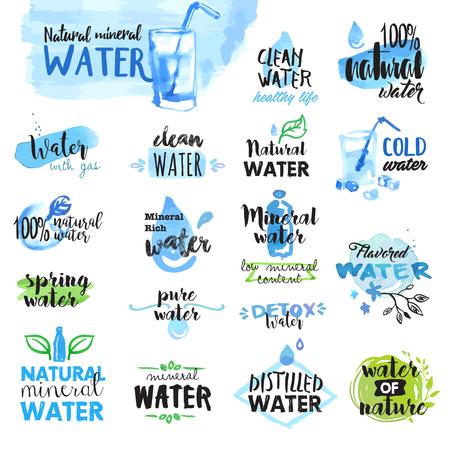 手のセットには、水彩のラベルと水のバッジが描画されます。グラフィックやウェブ デザインのベクター イラストです。