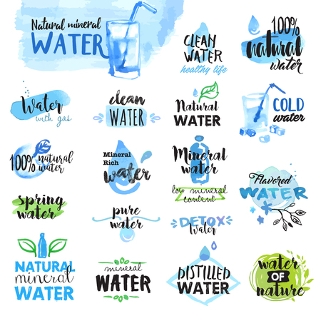 Set of hand drawn watercolor labels and badges of water. Vector illustrations for graphic and web design. Vettoriali