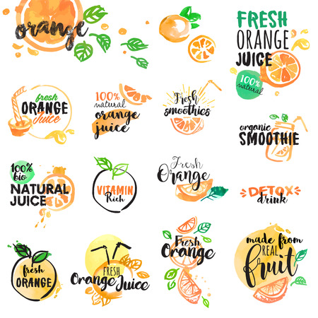 orange juice: Set of hand drawn watercolor labels and signs of orange juice and smoothies. Vector illustrations for graphic and web design, for restaurant and bar, menu.