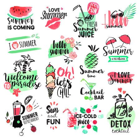 Conjunto de divisas de verano acuarela dibujado a mano y elementos. ilustraciones vectoriales para vacaciones de verano, agencia de viajes, restaurante y bar, menú, mar y sol, vacaciones en la playa y fiesta. Ilustración de vector