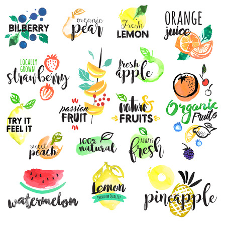 Set of hand drawn watercolor labels and stickers of fruit. Vector illustrations for graphic and web design, for food and drink, restaurant and bar, menu, fruit market, organic fruits. Ilustração