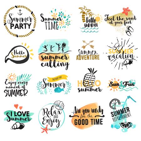 Conjunto de signos de verano acuarela dibujado a mano y pancartas. ilustraciones vectoriales para vacaciones de verano, agencia de viajes, restaurante y bar, menú, mar y sol, vacaciones en la playa y fiesta. Foto de archivo - 57916461
