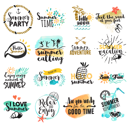 Set of hand drawn watercolor summer signs and banners. Vector illustrations for summer holiday, travel agency, restaurant and bar, menu, sea and sun, beach vacation and party.