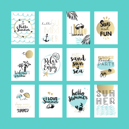hand set: Set of hand drawn summer cards and banners. Vector illustrations for graphic and web design, for summer vacation, beach party, greeting cards, enjoying the sun and sea