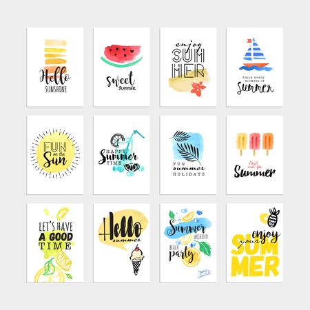 Conjunto de tarjetas de verano acuarela dibujado a mano y pancartas. Ilustraciones del vector para el diseño gráfico y web, para vacaciones de verano, fiesta en la playa, tarjetas de felicitación, disfrutando del sol y el mar