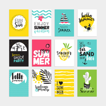손으로 그린 수채화 여름 카드와 배너 컬렉션. 태양과 바다를 즐기고 여름 휴가, 해변 파티, 인사말 카드에 대 한 그래픽 및 웹 디자인, 벡터 일러