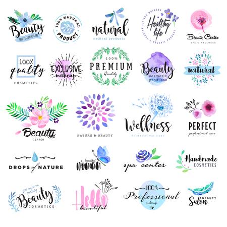Zestaw ręcznie rysowane etykiety akwarelowych i odznaki dla piękności, zdrowego stylu życia i dobrego samopoczucia. ilustracje wektorowe dla grafiki i projektowania stron internetowych, na kosmetyki, produkty naturalne, spa, centrum odnowy biologicznej.