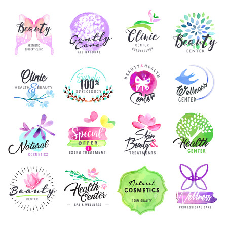 beauty center: Set of hand drawn watercolor labels for beauty and cosmetics. Vector illustrations for graphic and web design, for cosmetic products, natural products, skin care, makeup, beauty center, spa and wellness.
