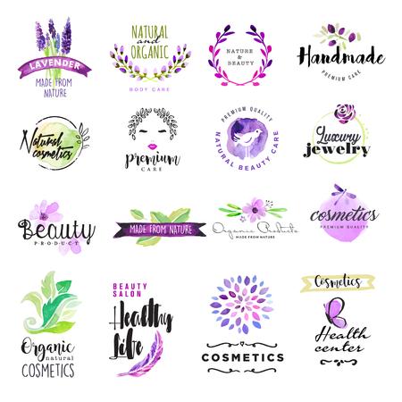 아름다움과 화장품 손으로 그린 수채화 기호 집합입니다. 천연 및 유기농 제품, 건강 생활, 미용을위한 그래픽 및 웹 디자인, 벡터 그림입니다.