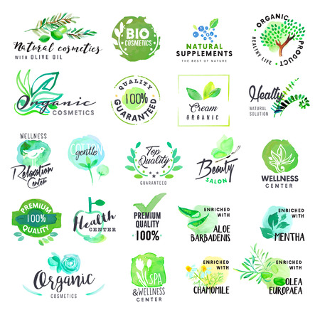 productos naturales: Conjunto de etiquetas de acuarela dibujado a mano y distintivos para cosméticos y cuidado de la salud. Ilustraciones del vector para el diseño gráfico y web, para los productos naturales, spa y bienestar, la belleza y la vida sana. Vectores