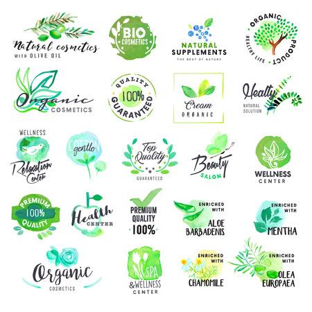 Set van hand getekende aquarel labels en badges voor cosmetica en de gezondheidszorg. Vector illustraties voor grafische en web design, voor natuurlijke producten, een spa en wellness, beauty en gezond leven. Stock Illustratie