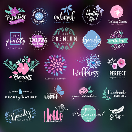 beauty icon: Cosmetics and beauty labels and badges collection Illustration