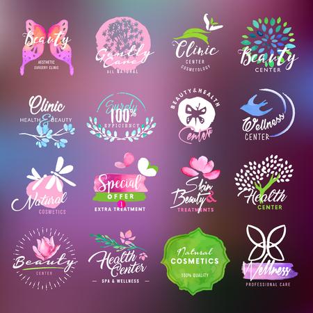 Belleza y cuidado de la salud de recogida de etiquetas y escudos Ilustración de vector