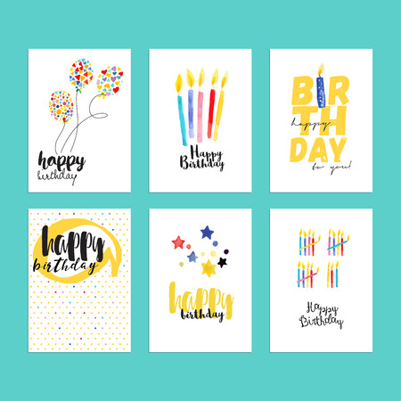 flower age: Birthday greeting cards collection. Hand drawn watercolor illustration concepts for website banners and print material. Illustration