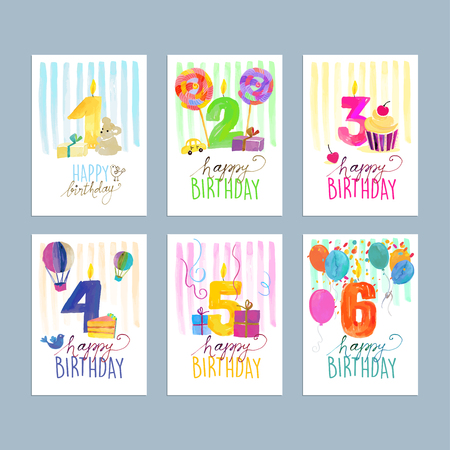 flower age: Set of birthday greeting cards. Hand drawn watercolor illustration concepts for website banners and print material. Illustration