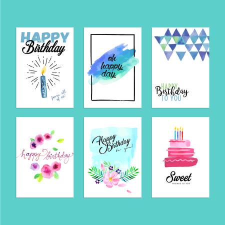 Colección de tarjetas de felicitación de cumpleaños de diseño moderno. Dibujado a mano ilustración de la acuarela conceptos para las banderas de sitios web y material de impresión. Ilustración de vector