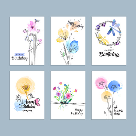 Hand drawn watercolor birthday greeting cards. 向量圖像