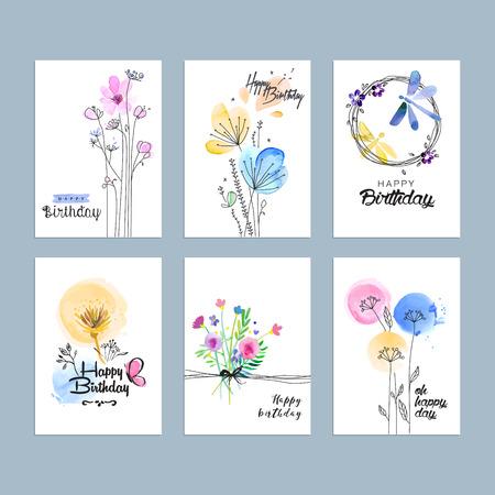 Hand gezeichnet Aquarell Geburtstag Grußkarten.