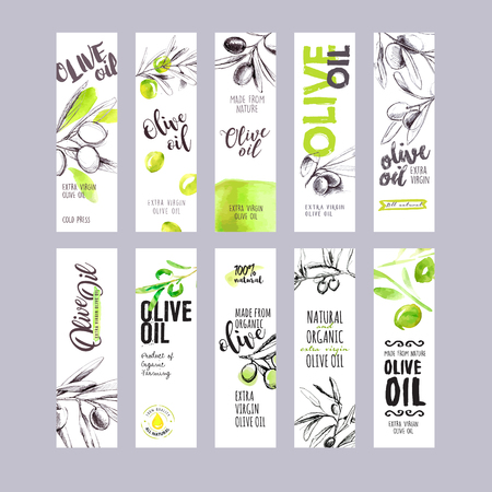 Set of hand drawn watercolor olive oil labels. Иллюстрация