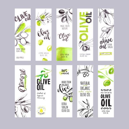 Zestaw ręcznie narysowanych etykiet oliwy z oliwek akwarelowych. Ilustracje wektorowe