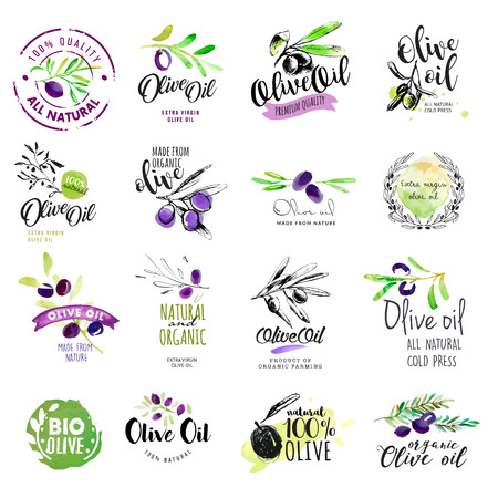 Set van hand getekende aquarel labels en stickers van olijfolie. Stock Illustratie