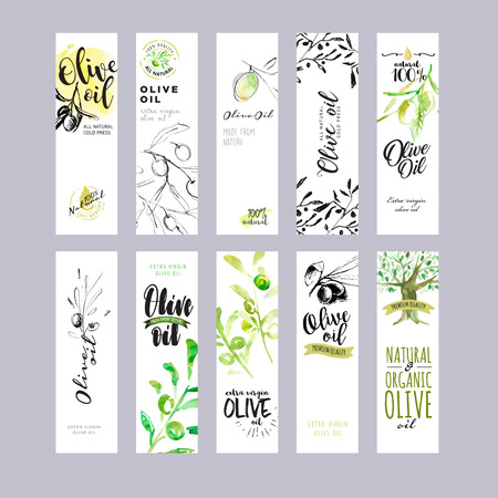 Hand drawn watercolor olive oil labels collection. Vettoriali