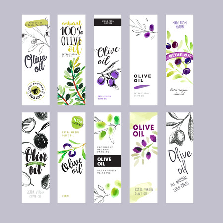 Set of olive oil labels. Ready to use hand drawn watercolor illustrations for olive oil packaging.