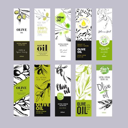 Оливковое масло метки коллекции. Ручной обращается иллюстрации шаблоны для оливкового масла. Упаковки