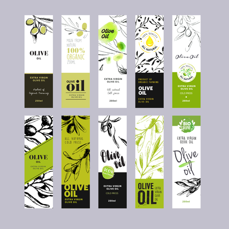 Olive oil labels collection. Hand drawn illustration templates for olive oil packaging. Banco de Imagens - 58943654