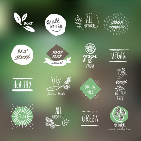 Set of hand drawn style labels and elements for organic food and drink, natural products, restaurant, healthy food market and production, on the nature background.