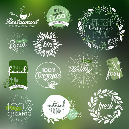 Hand drawn labels and elements collection for organic food and drink, natural products, restaurant, healthy food market and production, on the nature background.