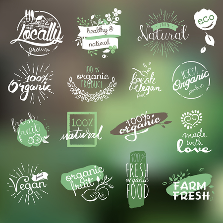 food market: Hand drawn stickers and elements collection for organic food and drink, natural products, restaurant, healthy food market and production, on the nature background.
