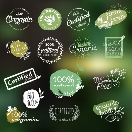 food market: Hand drawn stickers and badges collection for organic food and drink, natural products, restaurant, healthy food market and production, on the nature background. Vector illustrations.