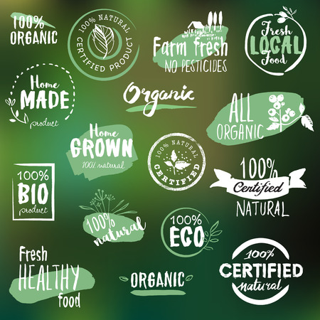 Hand drawn labels and badges collection for organic food and drink, natural products, restaurant, healthy food market and production, on the nature background