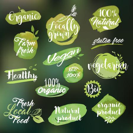 productos naturales: Conjunto de etiquetas y escudos dibujados a mano de acuarela sobre la alimentación y bebidas, productos naturales, restaurante, mercado de alimentos saludables y la producción, sobre la naturaleza de fondo borroso.