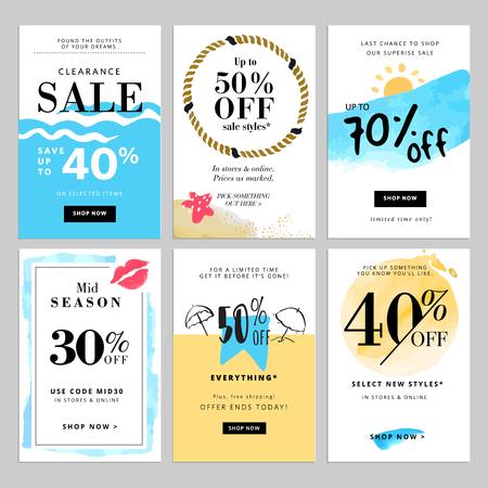 Set van seizoen verkoop banner sjablonen