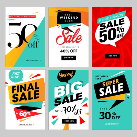 Flat design eye catching sale website banners for mobile phone.