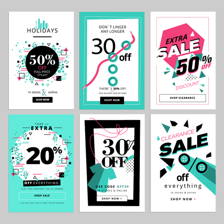 Set of sale banners for smartphone