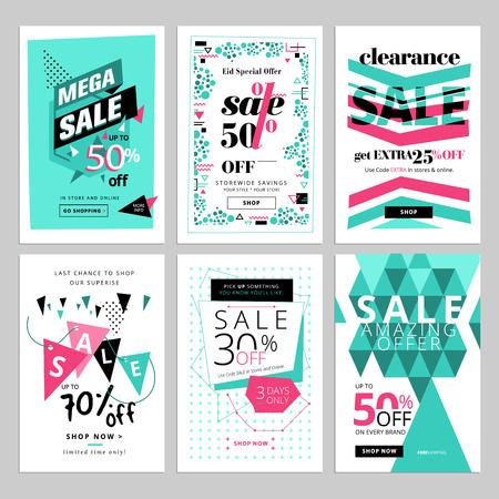 colección de banners de venta medios de comunicación social Ilustración de vector