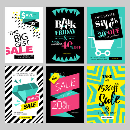 Set of eye catching web banners for shopping, sale, product promotion, clearance.