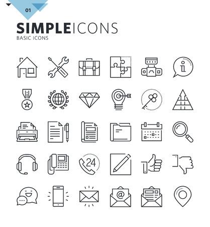 Moderne ligne mince de base web icons. collection de symboles Premium aperçu de la qualité pour le Web et la conception graphique, application mobile. Mono pictogrammes linéaires, des infographies et les éléments web emballent. Vecteurs