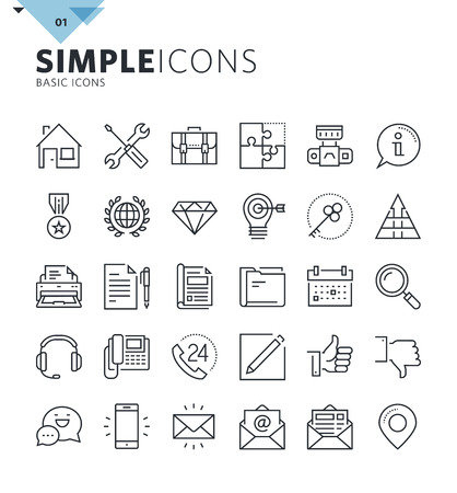 Modern thin line basic web icons. Premium quality outline symbol collection for web and graphic design, mobile app. Mono linear pictograms, infographics and web elements pack.