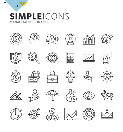 finance icons: Modern thin line icons of management and finance. Premium quality outline symbol collection for web design, mobile app, graphic design. Mono linear pictograms, infographics and web elements pack.