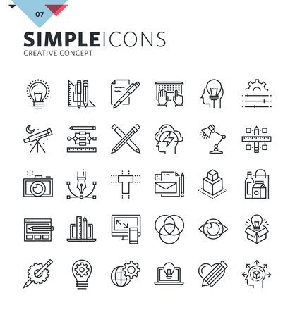 Moderne dunne lijn iconen van grafische vormgeving en creatief werk. Premium kwaliteit schets symbool collectie voor web en grafische vormgeving, mobiele app. Mono lineaire pictogrammen, infographics en web-elementen in te pakken Stock Illustratie