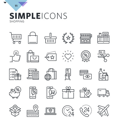 Modern thin line shopping web icons. Premium quality outline symbol collection for web and graphic design, mobile app. Mono linear pictograms, infographics and web elements pack. Ilustracja