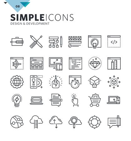 I moderni sottili linee icone del design e dello sviluppo. collezione Premium contorno qualità simbolo per il web design, mobile app, la progettazione grafica. Mono pittogrammi lineari, infografica e elementi web pacco.