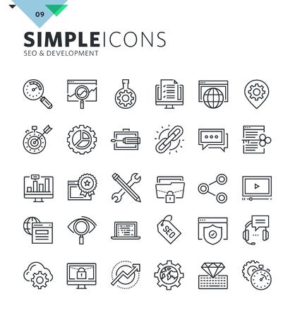 Iconos modernos de línea delgada de SEO y desarrollo web. Colección de símbolos de calidad premium para web y diseño gráfico, aplicación móvil. Mono pictogramas lineales, infografías y elementos web pack.
